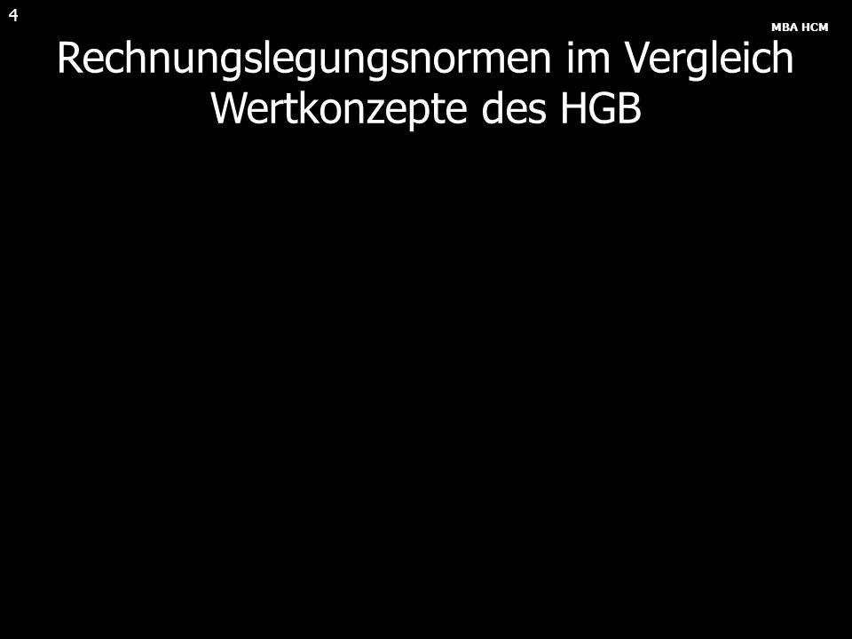MBA HCM 4 Rechnungslegungsnormen im Vergleich Wertkonzepte des HGB