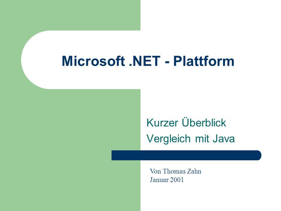 Microsoft.NET - Plattform Kurzer Überblick Vergleich mit Java Von Thomas Zahn Januar 2001