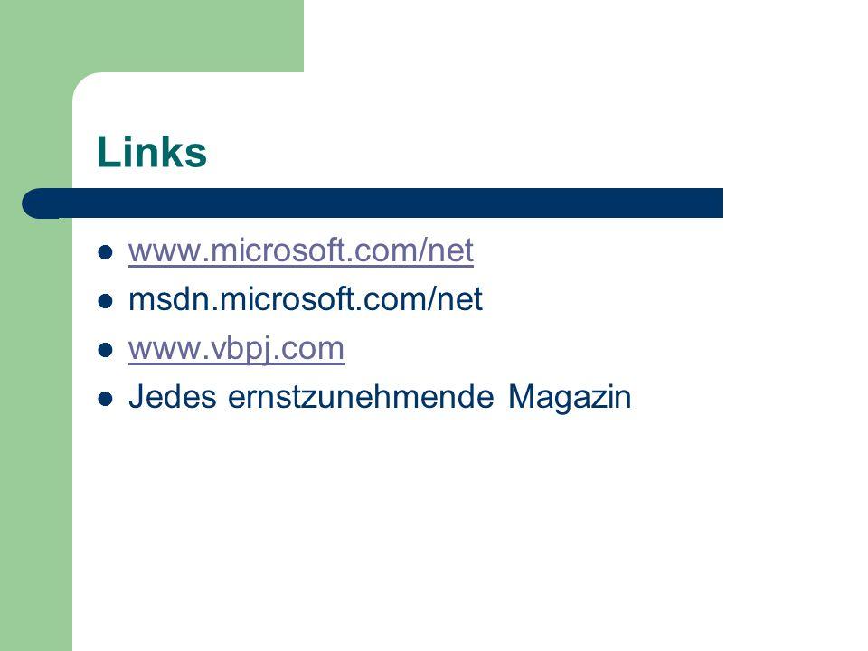 Links www.microsoft.com/net msdn.microsoft.com/net www.vbpj.com Jedes ernstzunehmende Magazin
