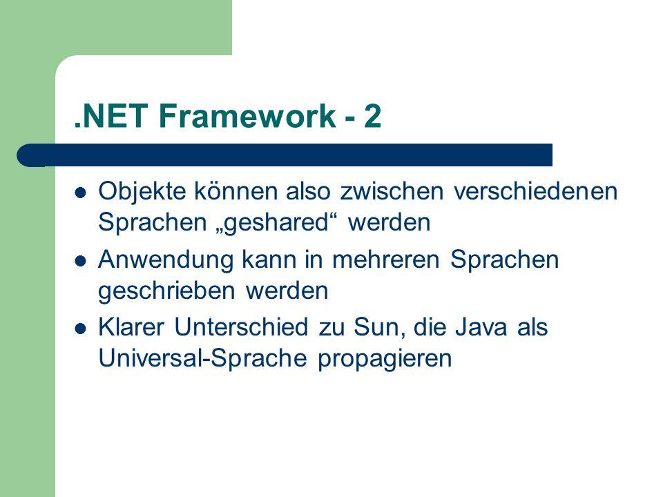 """.NET Framework - 2 Objekte können also zwischen verschiedenen Sprachen """"geshared werden Anwendung kann in mehreren Sprachen geschrieben werden Klarer Unterschied zu Sun, die Java als Universal-Sprache propagieren"""