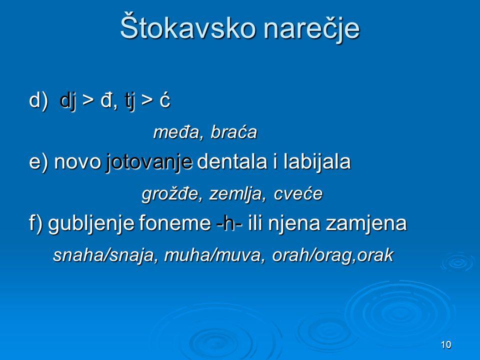 10 Štokavsko narečje d) dj > đ, tj > ć međa, braća međa, braća e) novo jotovanje dentala i labijala grožđe, zemlja, cveće grožđe, zemlja, cveće f) gub