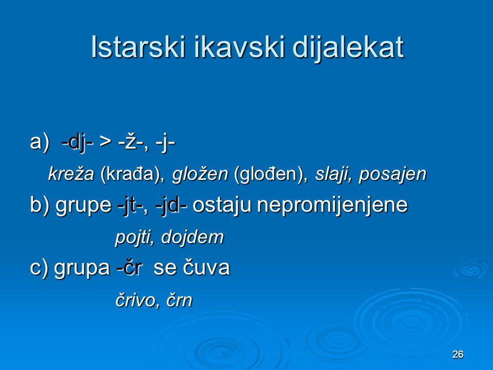 26 Istarski ikavski dijalekat a) -dj- > -ž-, -j- kreža (krađa), gložen (glođen), slaji, posajen kreža (krađa), gložen (glođen), slaji, posajen b) grup