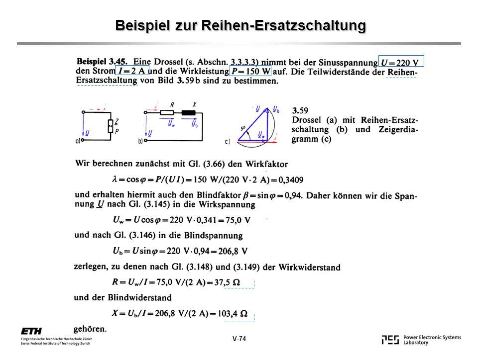 Beispiel zur Reihen-Ersatzschaltung V-74