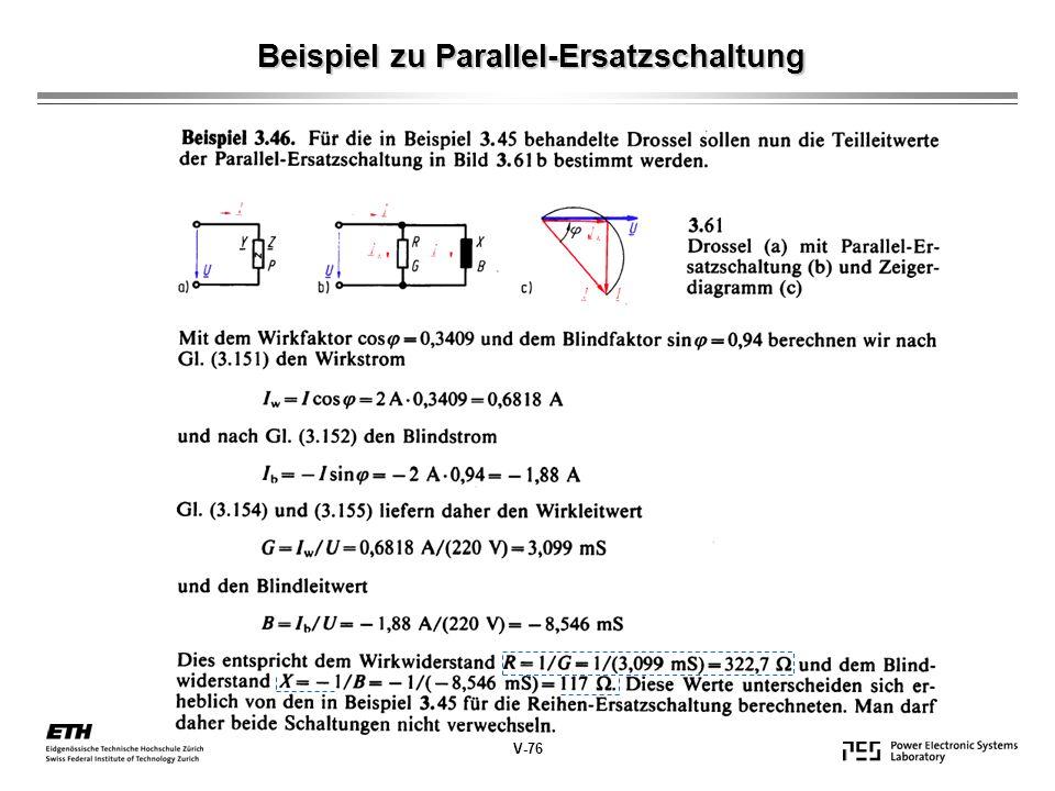 Beispiel zu Parallel-Ersatzschaltung V-76