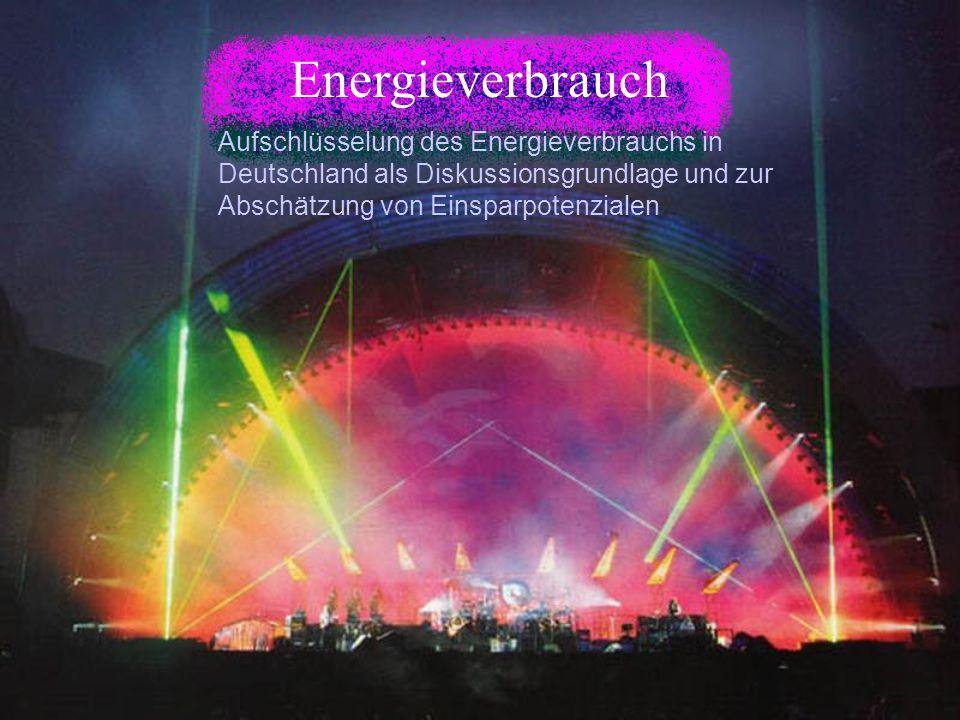Energieverbrauch Aufschlüsselung des Energieverbrauchs in Deutschland als Diskussionsgrundlage und zur Abschätzung von Einsparpotenzialen