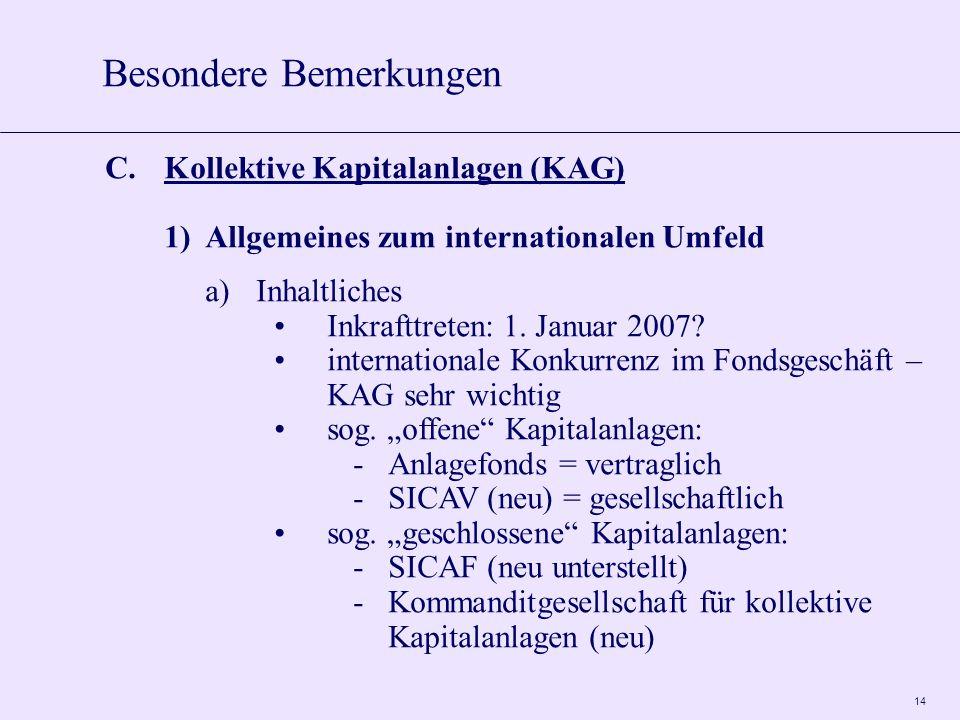 14 C.Kollektive Kapitalanlagen (KAG) 1)Allgemeines zum internationalen Umfeld a)Inhaltliches Inkrafttreten: 1.