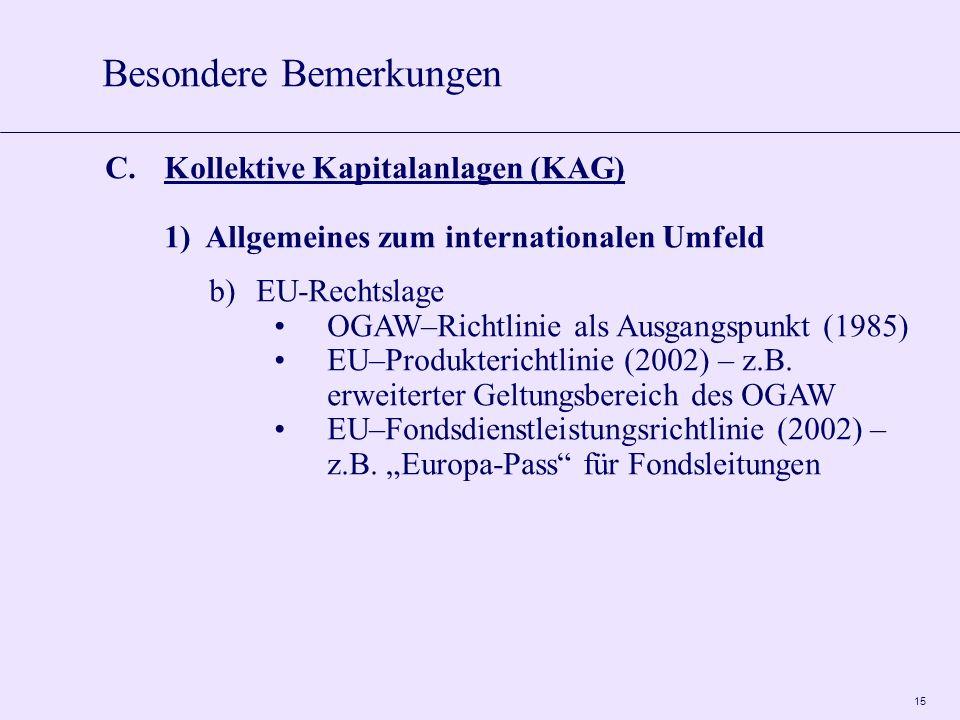 15 C.Kollektive Kapitalanlagen (KAG) 1)Allgemeines zum internationalen Umfeld b)EU-Rechtslage OGAW–Richtlinie als Ausgangspunkt (1985) EU–Produkterichtlinie (2002) – z.B.