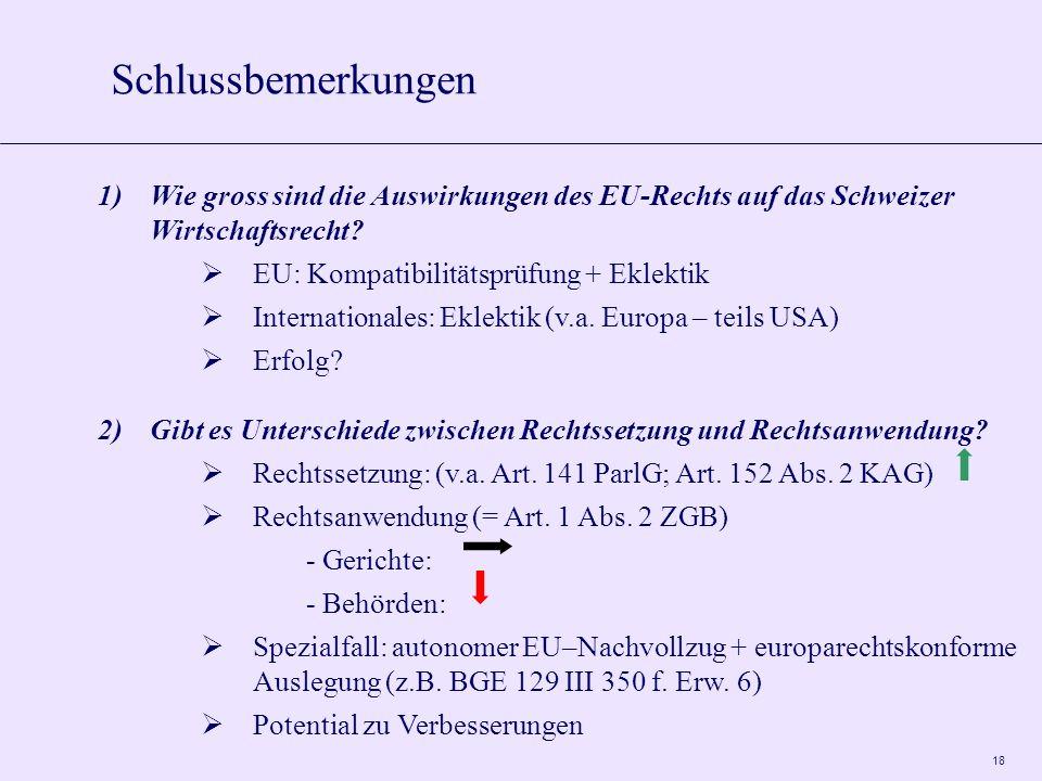18 Schlussbemerkungen 1)Wie gross sind die Auswirkungen des EU-Rechts auf das Schweizer Wirtschaftsrecht.
