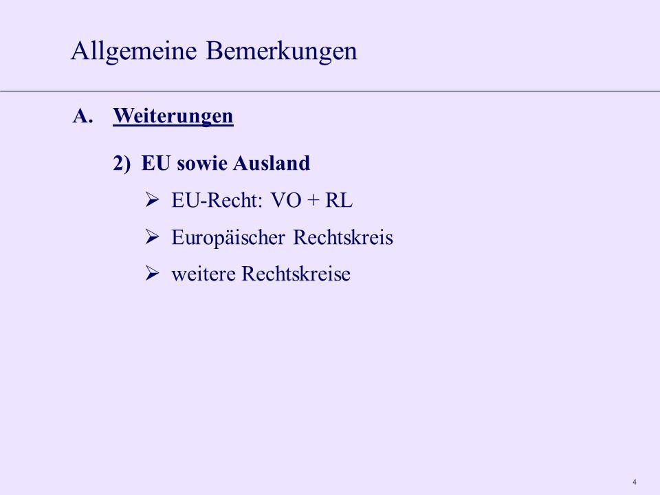 4 A.Weiterungen 2)EU sowie Ausland  EU-Recht: VO + RL  Europäischer Rechtskreis  weitere Rechtskreise Allgemeine Bemerkungen