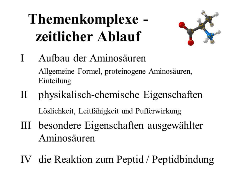 Themenkomplexe - zeitlicher Ablauf IAufbau der Aminosäuren Allgemeine Formel, proteinogene Aminosäuren, Einteilung IIphysikalisch-chemische Eigenschaften Löslichkeit, Leitfähigkeit und Pufferwirkung IIIbesondere Eigenschaften ausgewählter Aminosäuren IVdie Reaktion zum Peptid / Peptidbindung