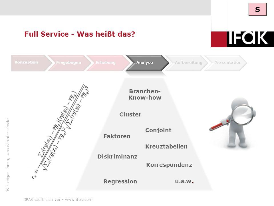 Wir zeigen Ihnen, was dahinter steckt IFAK stellt sich vor - www.ifak.com10. u.s.w. Conjoint Konzeption FragebogenErhebung AufbereitungPräsentation Di