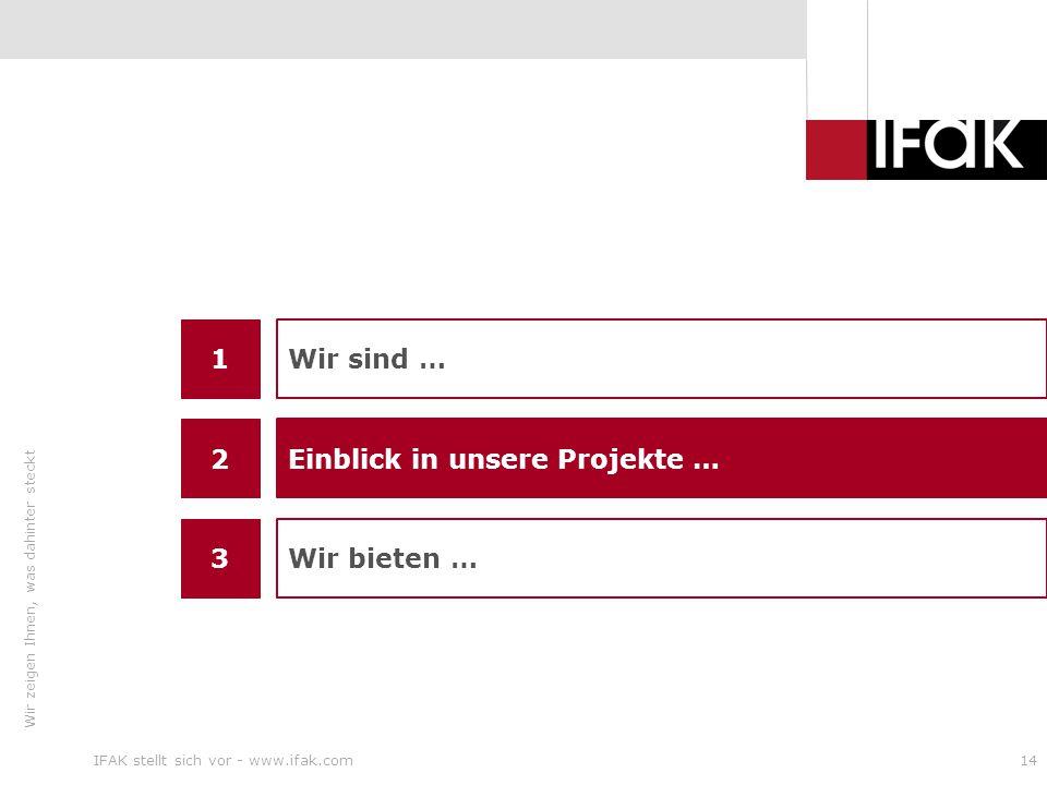 Wir zeigen Ihnen, was dahinter steckt IFAK stellt sich vor - www.ifak.com14 1 3 Wir sind … Wir bieten … 2 Einblick in unsere Projekte …