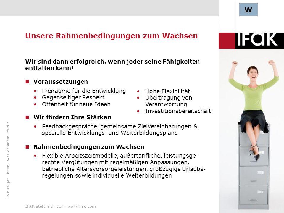 Wir zeigen Ihnen, was dahinter steckt IFAK stellt sich vor - www.ifak.com22 Unsere Rahmenbedingungen zum Wachsen Wir sind dann erfolgreich, wenn jeder