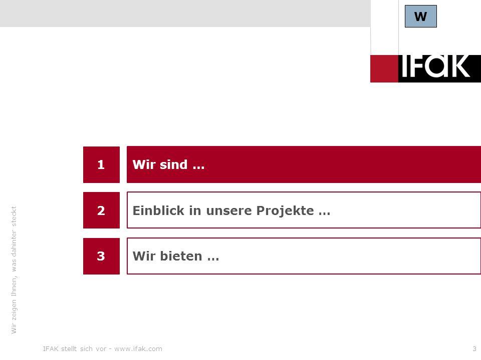 Wir zeigen Ihnen, was dahinter steckt IFAK stellt sich vor - www.ifak.com3 W 1 3 Wir sind … Wir bieten … 2 Einblick in unsere Projekte …