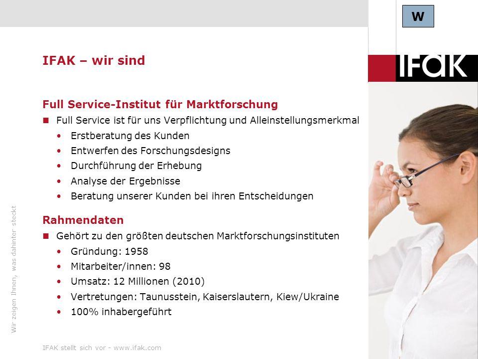 Wir zeigen Ihnen, was dahinter steckt IFAK stellt sich vor - www.ifak.com5 IFAK - Forschungsschwerpunkte & Kunden Wir sind spezialisiert auf die Branchen Media & Communication Consumer & Customer Traffic & Tourism Health Care & Pharma Auswahl an IFAK Kunden W