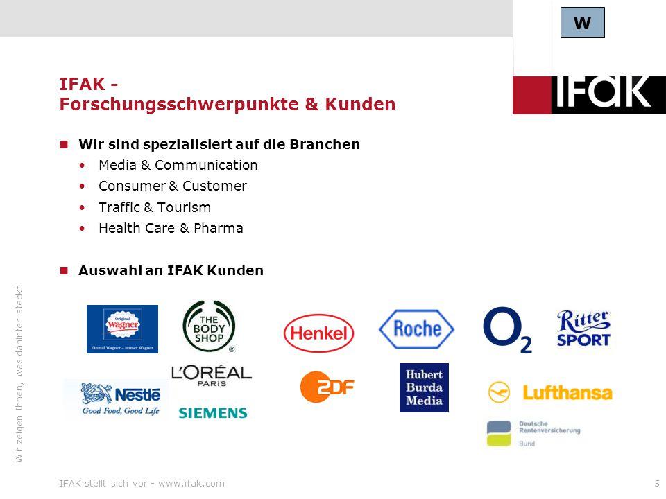 Wir zeigen Ihnen, was dahinter steckt IFAK stellt sich vor - www.ifak.com16 IFAK - Traffic & Tourism Fluggastbefragungen Flugroute, Reisebeginn, Umsteigflughafen, Fluggesellschaft, Ticketkauf, Anreiseverkehrsmittel, soziodemographische Daten Jährlich 300.000 Interviews an 17 Flughäfen in Deutschland Durchführung der Befragung in 8 Sprachen 500 geschulte mehrsprachige Interviewer Repräsentative Abbildung des Flugreisemarkts von/nach/über und innerhalb Deutschlands Aufgaben als Praktikant (min.