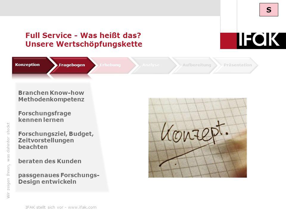 Wir zeigen Ihnen, was dahinter steckt IFAK stellt sich vor - www.ifak.com8 ErhebungAnalyse AufbereitungPräsentation Full Service - Was heißt das? Unse