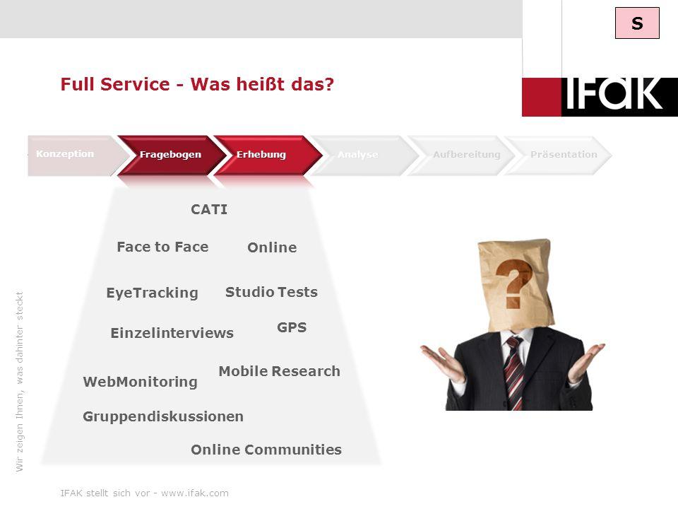 Wir zeigen Ihnen, was dahinter steckt IFAK stellt sich vor - www.ifak.com9 CATI Konzeption Analyse AufbereitungPräsentation EyeTracking Mobile Researc