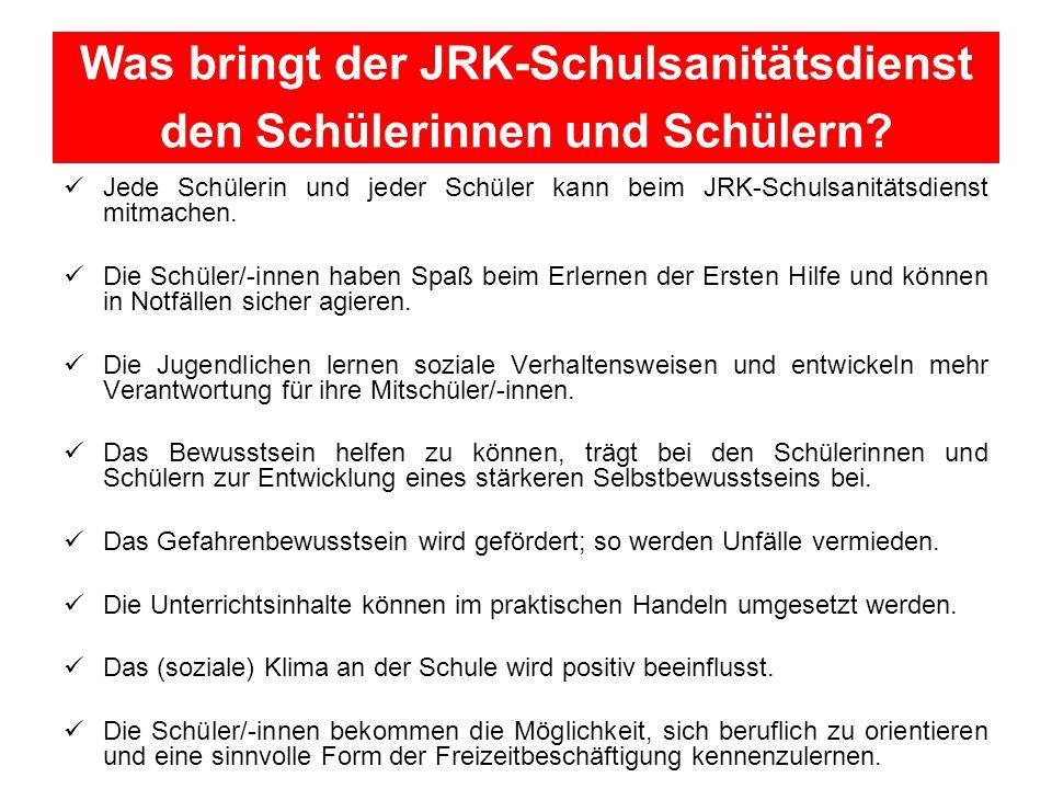 Was bringt der JRK-Schulsanitätsdienst den Schülerinnen und Schülern.