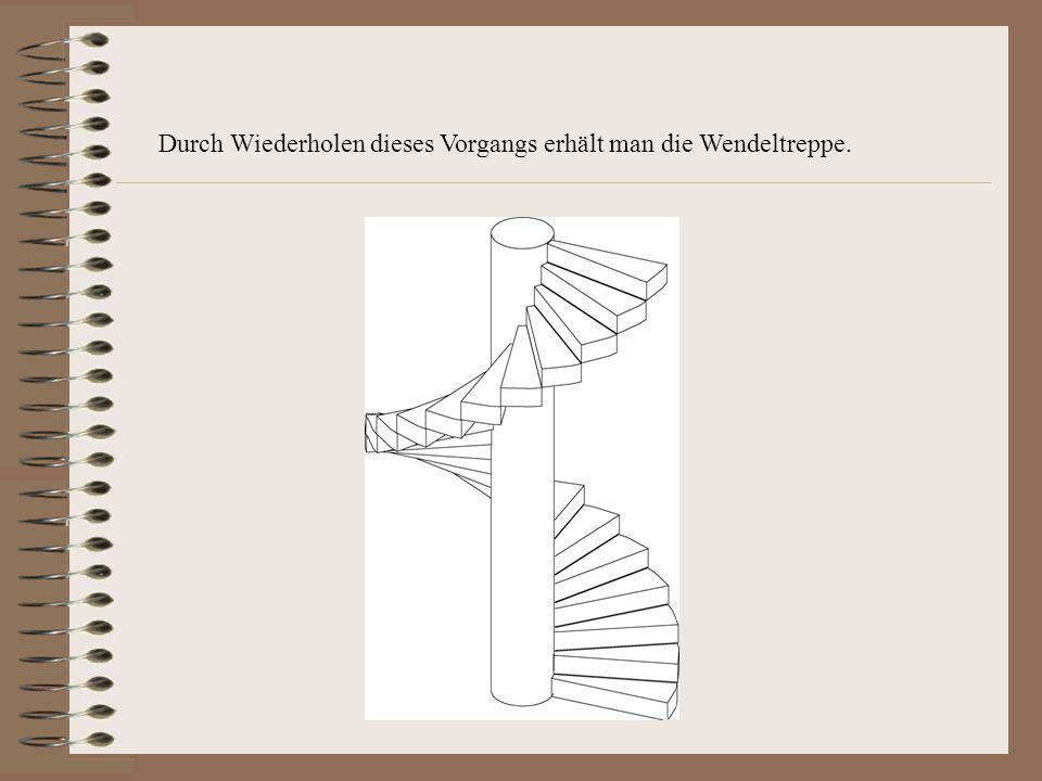 2. Schritt:Erstellen der Wendeltreppe Durch Verschrauben der untersten Stufe (Entwerfen – Kopieren – Sonstiges – Schraubung) entsteht die Wendeltreppe