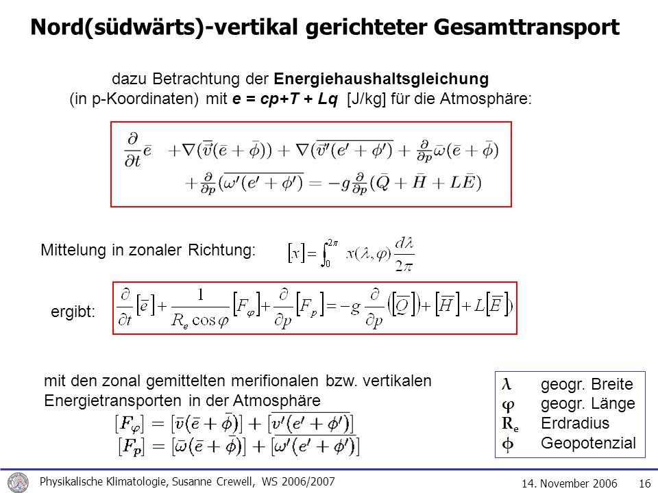 14. November 2006 Physikalische Klimatologie, Susanne Crewell, WS 2006/2007 16 Nord(südwärts)-vertikal gerichteter Gesamttransport dazu Betrachtung de