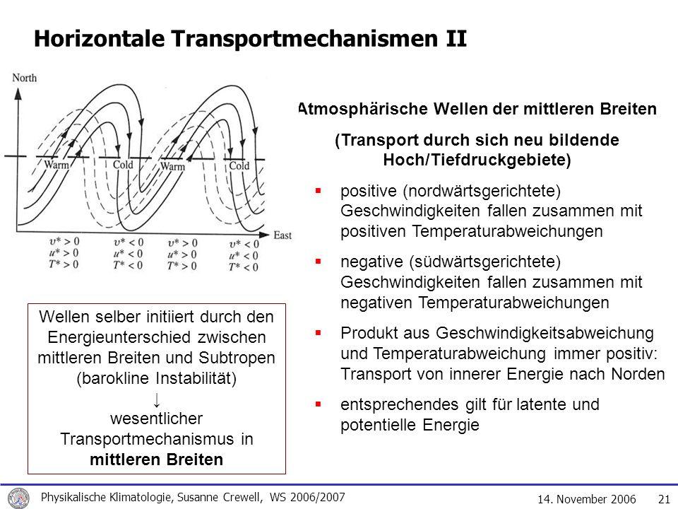 14. November 2006 Physikalische Klimatologie, Susanne Crewell, WS 2006/2007 21 Horizontale Transportmechanismen II Atmosphärische Wellen der mittleren