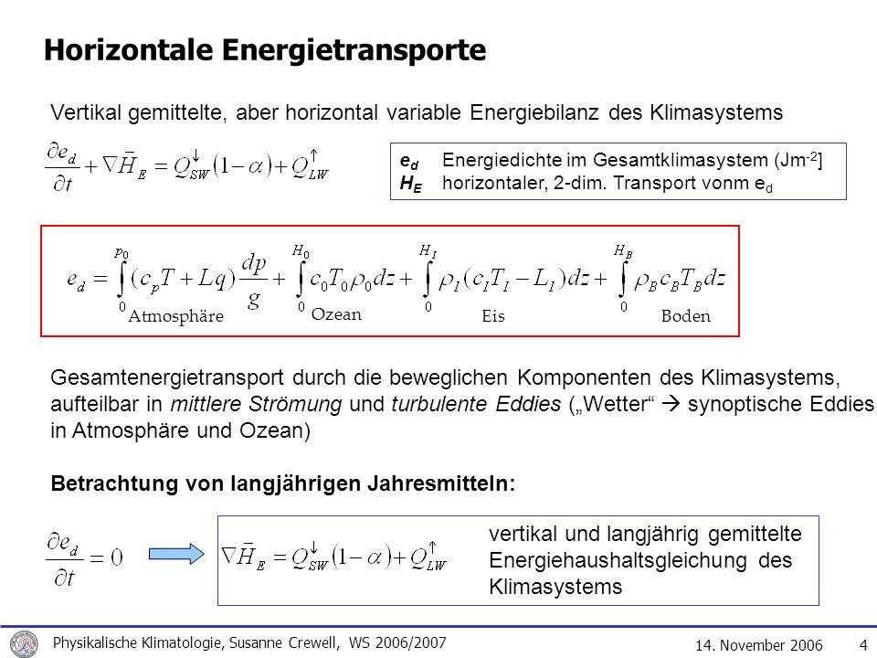 14. November 2006 Physikalische Klimatologie, Susanne Crewell, WS 2006/2007 4 Vertikal gemittelte, aber horizontal variable Energiebilanz des Klimasys