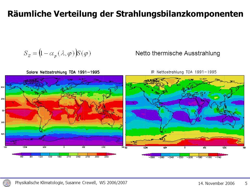 14. November 2006 Physikalische Klimatologie, Susanne Crewell, WS 2006/2007 5 Räumliche Verteilung der Strahlungsbilanzkomponenten Netto thermische Au