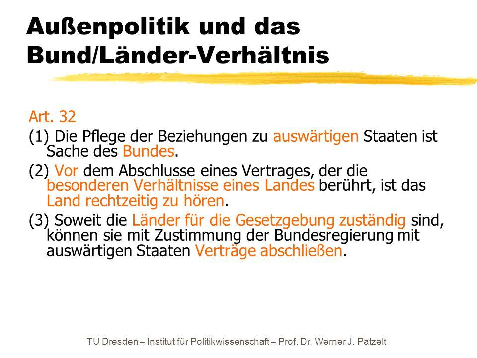 TU Dresden – Institut für Politikwissenschaft – Prof. Dr. Werner J. Patzelt Außenpolitik und das Bund/Länder-Verhältnis Art. 32 (1) Die Pflege der Bez