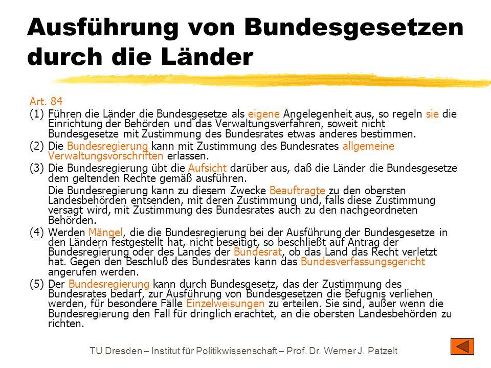 TU Dresden – Institut für Politikwissenschaft – Prof. Dr. Werner J. Patzelt Ausführung von Bundesgesetzen durch die Länder Art. 84 (1)Führen die Lände