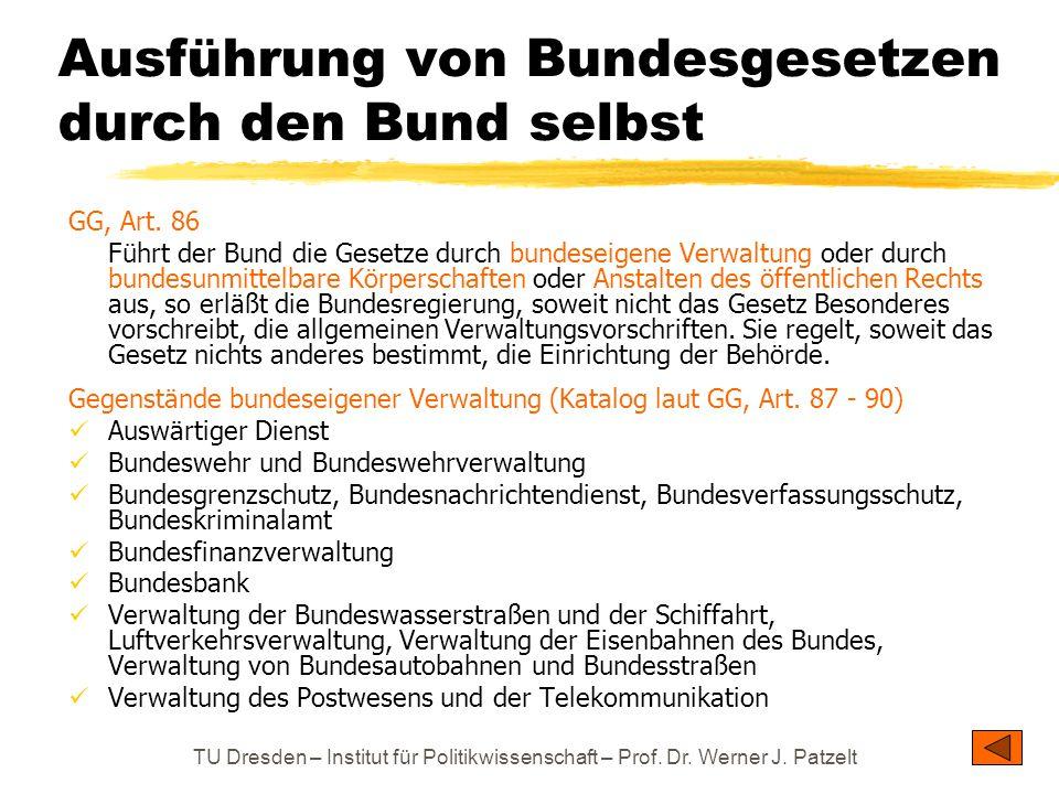 TU Dresden – Institut für Politikwissenschaft – Prof. Dr. Werner J. Patzelt Ausführung von Bundesgesetzen durch den Bund selbst GG, Art. 86 Führt der
