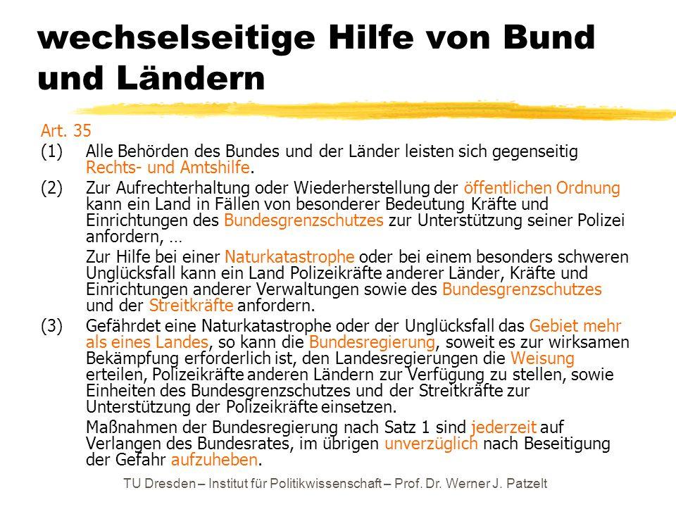 TU Dresden – Institut für Politikwissenschaft – Prof. Dr. Werner J. Patzelt wechselseitige Hilfe von Bund und Ländern Art. 35 (1) Alle Behörden des Bu