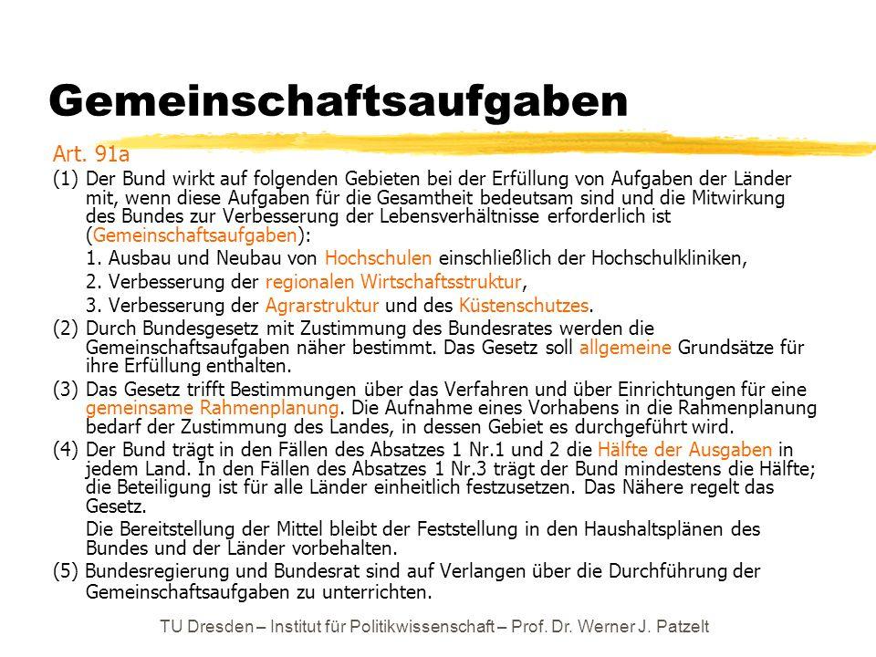 TU Dresden – Institut für Politikwissenschaft – Prof. Dr. Werner J. Patzelt Gemeinschaftsaufgaben Art. 91a (1) Der Bund wirkt auf folgenden Gebieten b