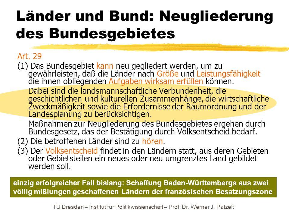 TU Dresden – Institut für Politikwissenschaft – Prof. Dr. Werner J. Patzelt Länder und Bund: Neugliederung des Bundesgebietes Art. 29 (1) Das Bundesge