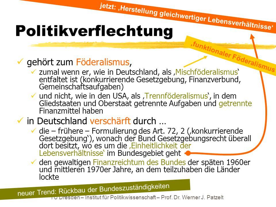 TU Dresden – Institut für Politikwissenschaft – Prof. Dr. Werner J. Patzelt Politikverflechtung gehört zum Föderalismus, zumal wenn er, wie in Deutsch
