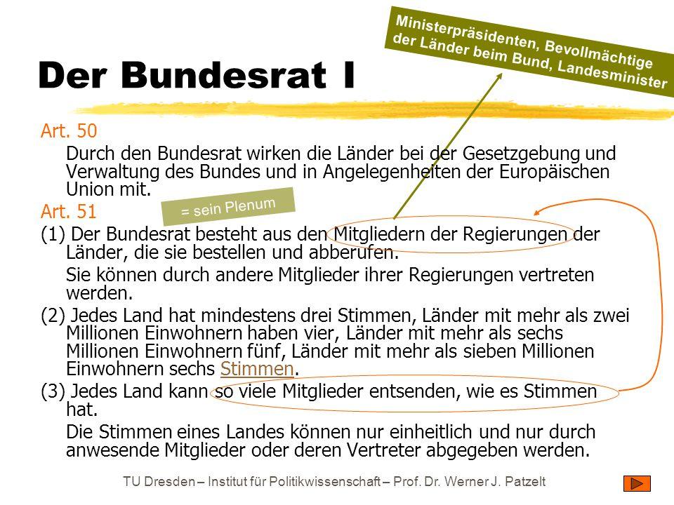 TU Dresden – Institut für Politikwissenschaft – Prof. Dr. Werner J. Patzelt Der Bundesrat I Art. 50 Durch den Bundesrat wirken die Länder bei der Gese