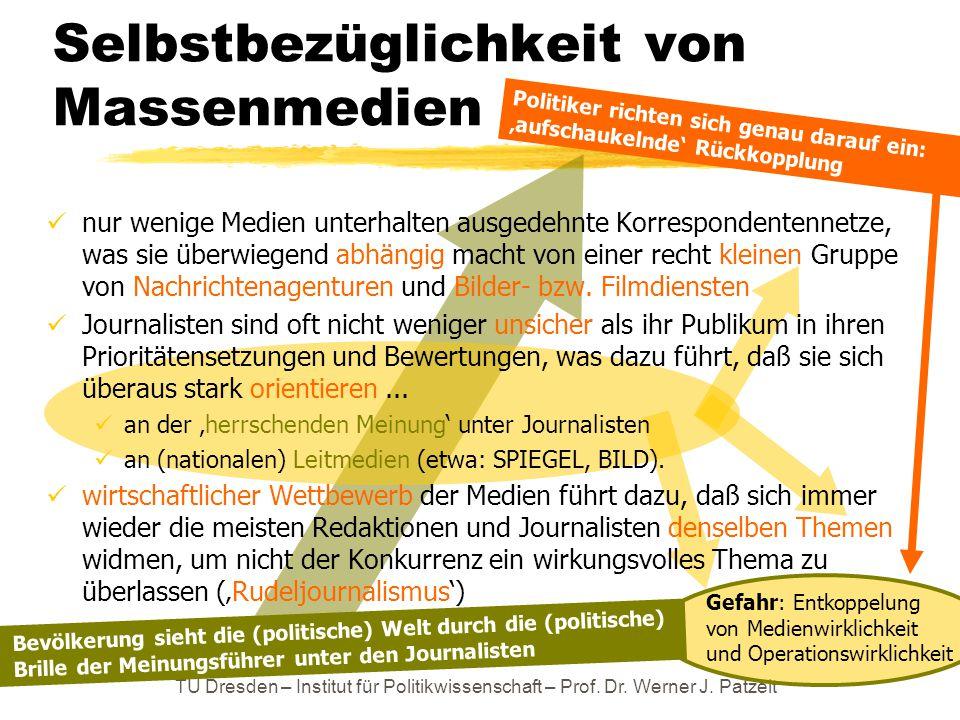 TU Dresden – Institut für Politikwissenschaft – Prof. Dr. Werner J. Patzelt Gefahr: Entkoppelung von Medienwirklichkeit und Operationswirklichkeit Sel