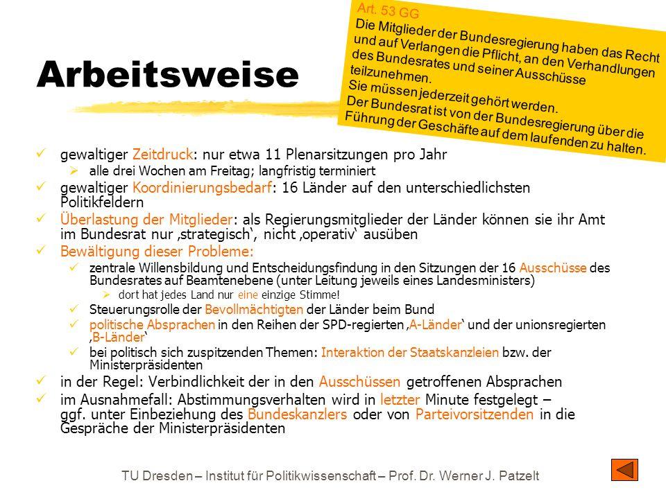 TU Dresden – Institut für Politikwissenschaft – Prof. Dr. Werner J. Patzelt Arbeitsweise gewaltiger Zeitdruck: nur etwa 11 Plenarsitzungen pro Jahr 