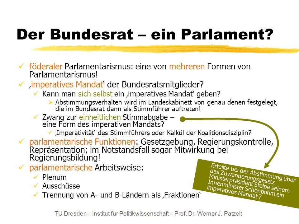 TU Dresden – Institut für Politikwissenschaft – Prof. Dr. Werner J. Patzelt Der Bundesrat – ein Parlament? föderaler Parlamentarismus: eine von mehrer
