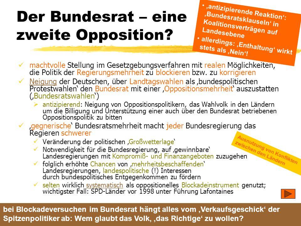TU Dresden – Institut für Politikwissenschaft – Prof. Dr. Werner J. Patzelt Der Bundesrat – eine zweite Opposition? machtvolle Stellung im Gesetzgebun