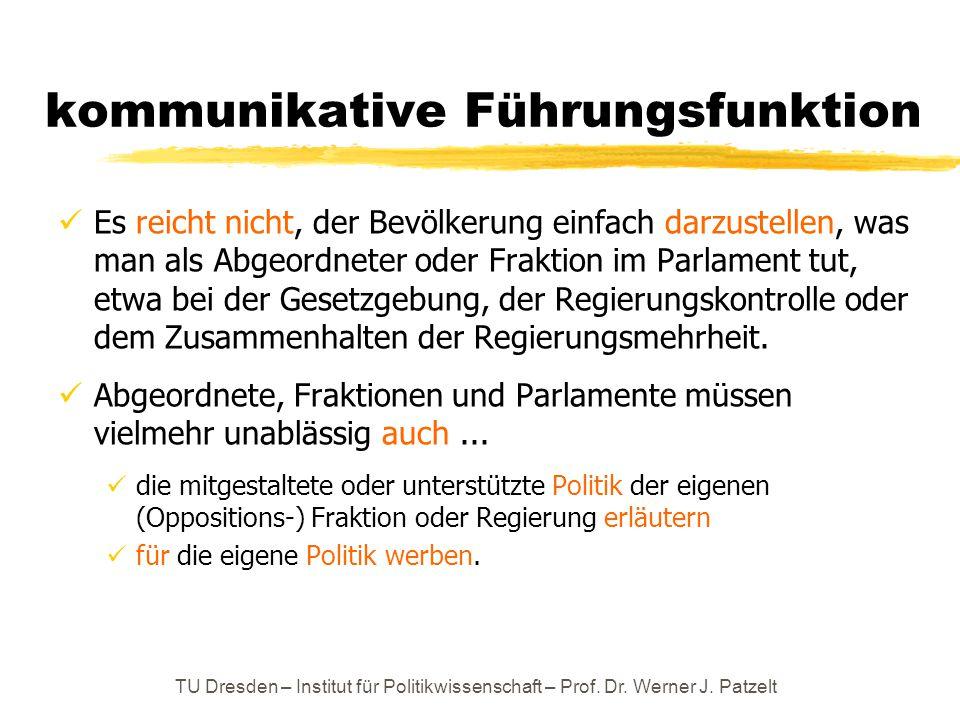 TU Dresden – Institut für Politikwissenschaft – Prof. Dr. Werner J. Patzelt kommunikative Führungsfunktion Es reicht nicht, der Bevölkerung einfach da