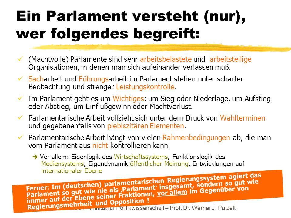 TU Dresden – Institut für Politikwissenschaft – Prof. Dr. Werner J. Patzelt Ein Parlament versteht (nur), wer folgendes begreift: (Machtvolle) Parlame