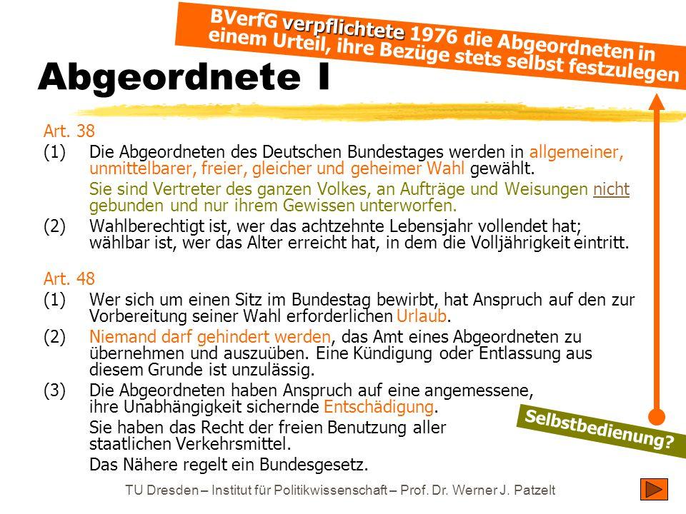 TU Dresden – Institut für Politikwissenschaft – Prof. Dr. Werner J. Patzelt Abgeordnete I Art. 38 (1)Die Abgeordneten des Deutschen Bundestages werden