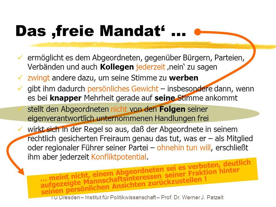 TU Dresden – Institut für Politikwissenschaft – Prof. Dr. Werner J. Patzelt Das 'freie Mandat'... ermöglicht es dem Abgeordneten, gegenüber Bürgern, P