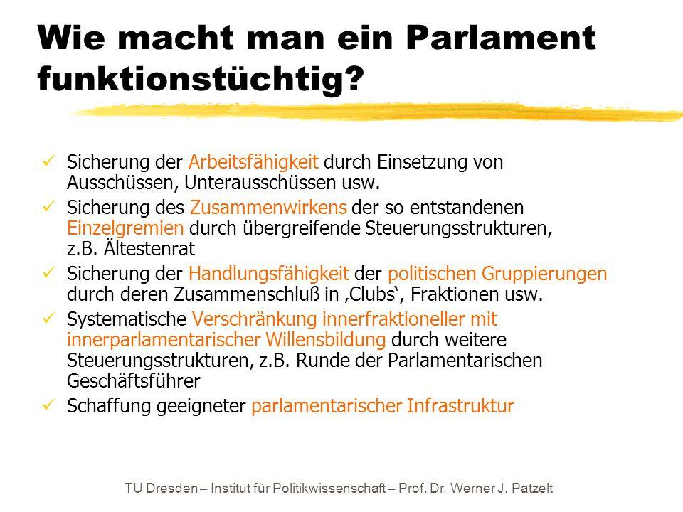 TU Dresden – Institut für Politikwissenschaft – Prof. Dr. Werner J. Patzelt Wie macht man ein Parlament funktionstüchtig? Sicherung der Arbeitsfähigke