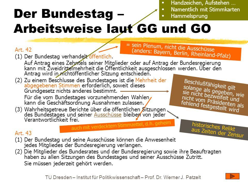 TU Dresden – Institut für Politikwissenschaft – Prof. Dr. Werner J. Patzelt = sein Plenum, nicht die Ausschüsse (anders: Bayern, Berlin, Rheinland-Pfa