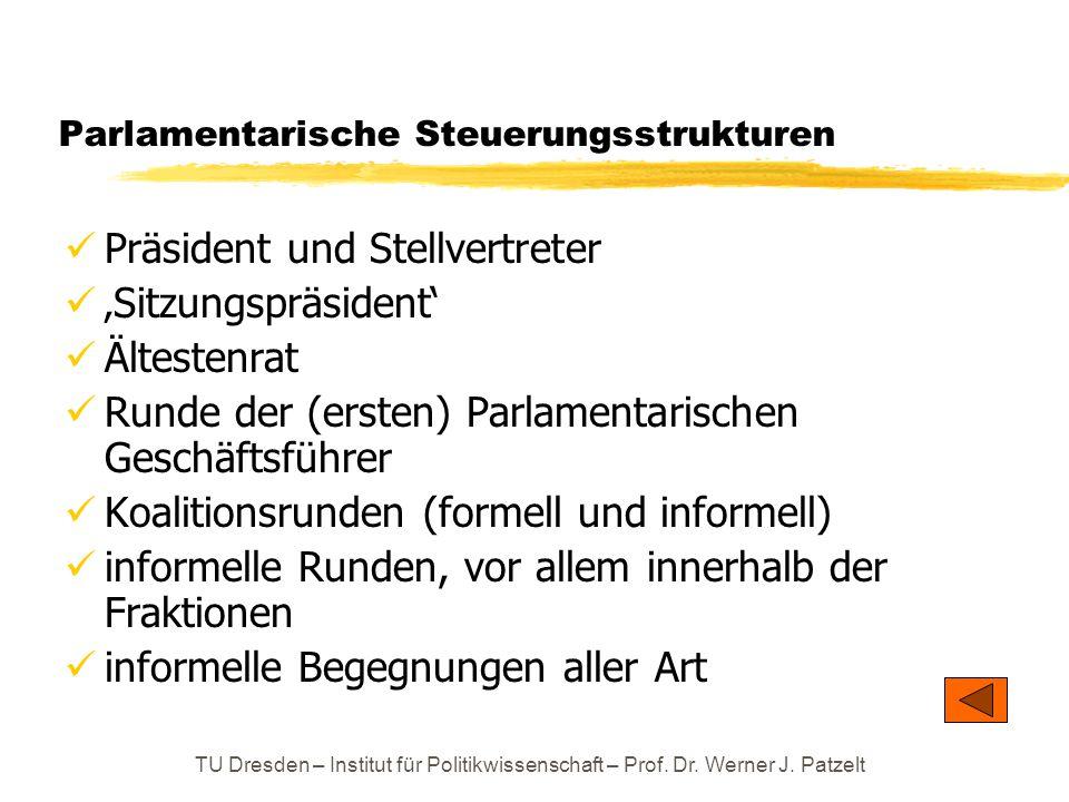 TU Dresden – Institut für Politikwissenschaft – Prof. Dr. Werner J. Patzelt Parlamentarische Steuerungsstrukturen Präsident und Stellvertreter 'Sitzun