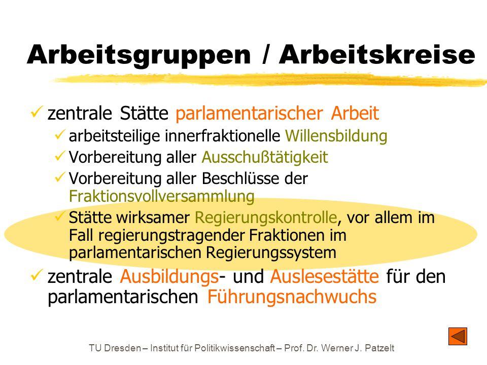 TU Dresden – Institut für Politikwissenschaft – Prof. Dr. Werner J. Patzelt Arbeitsgruppen / Arbeitskreise zentrale Stätte parlamentarischer Arbeit ar
