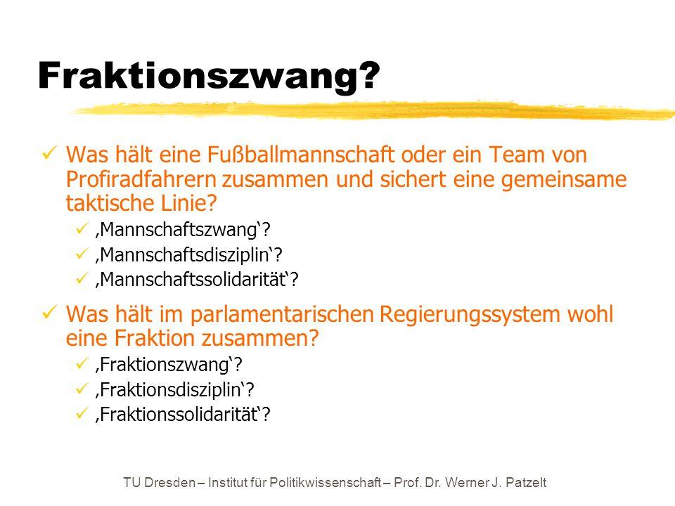 TU Dresden – Institut für Politikwissenschaft – Prof. Dr. Werner J. Patzelt Fraktionszwang? Was hält eine Fußballmannschaft oder ein Team von Profirad