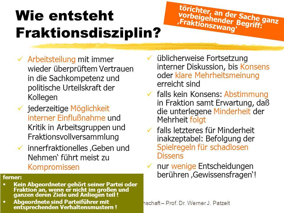 TU Dresden – Institut für Politikwissenschaft – Prof. Dr. Werner J. Patzelt Wie entsteht Fraktionsdisziplin? Arbeitsteilung mit immer wieder überprüft